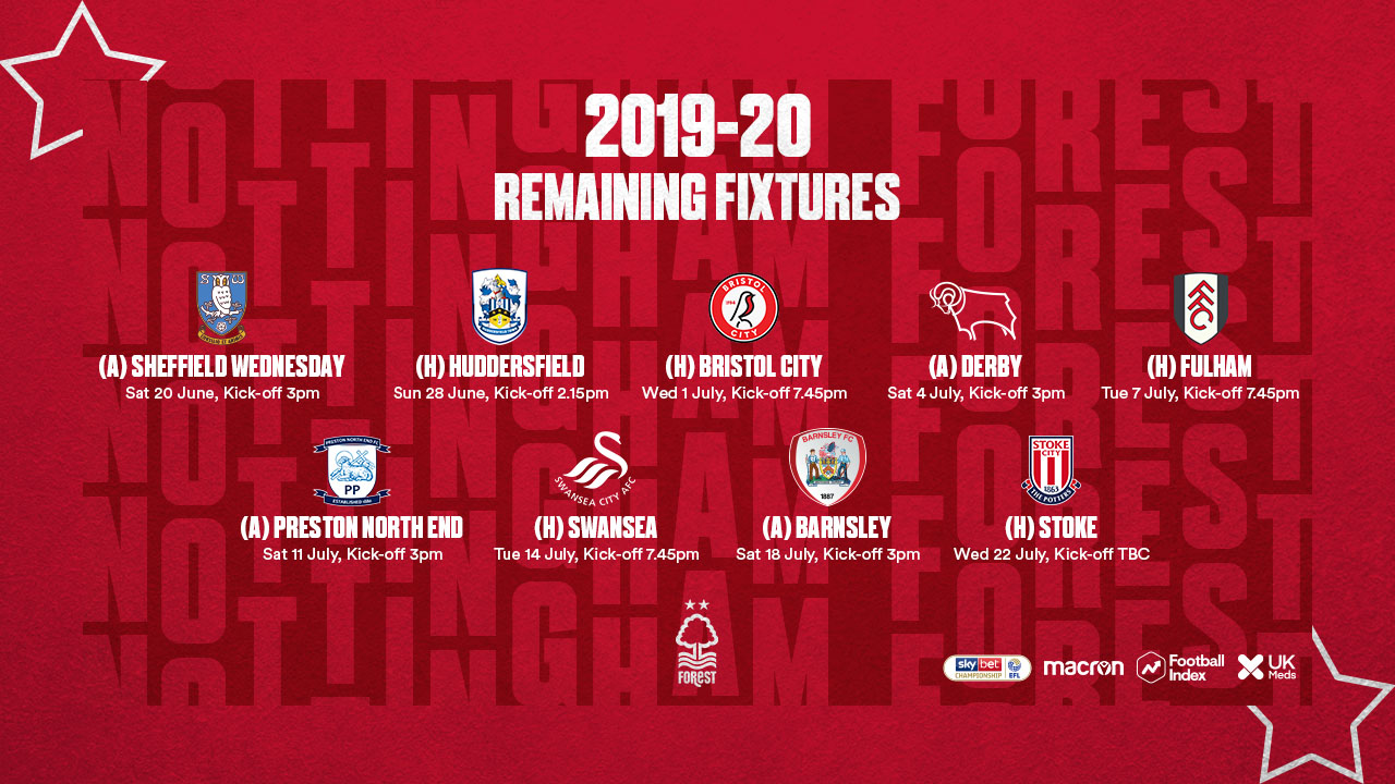 Forest fixtures confirmed for season restart